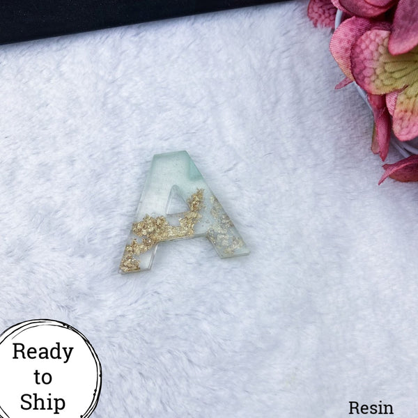 Resin Letter A Seafoam & Gold Glitter/Clear - Ready to Ship