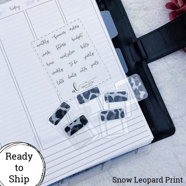 Set of 6 Mini Snow Leopard Print Foiled Planner Clip Style Tabs - Ready to Ship