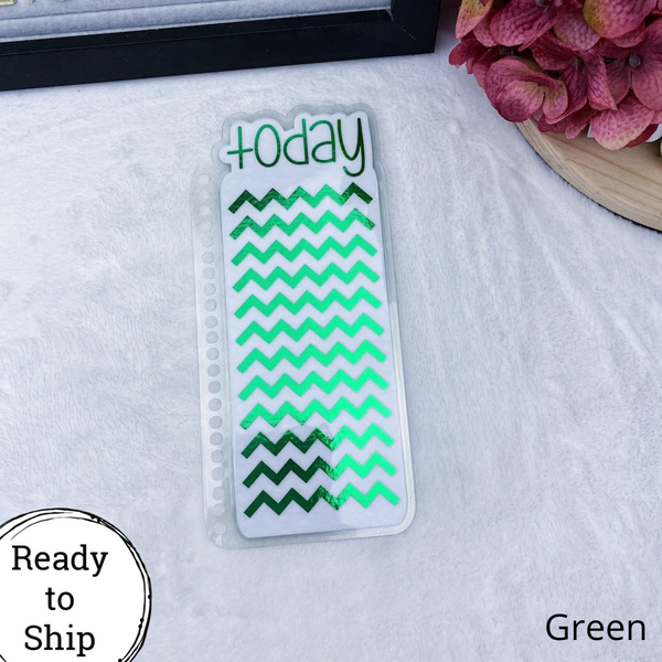 Spiral Bound Green Chevron Today Tab - Ready to Ship