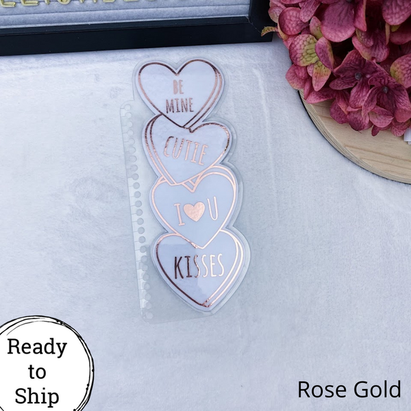 Spiral Bound Rose Gold Stacked Conversation Hearts Planner Tab - Ready to Ship