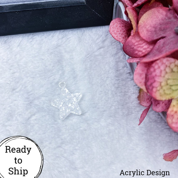 White Glitter Acrylic Star Charm - Ready to Ship