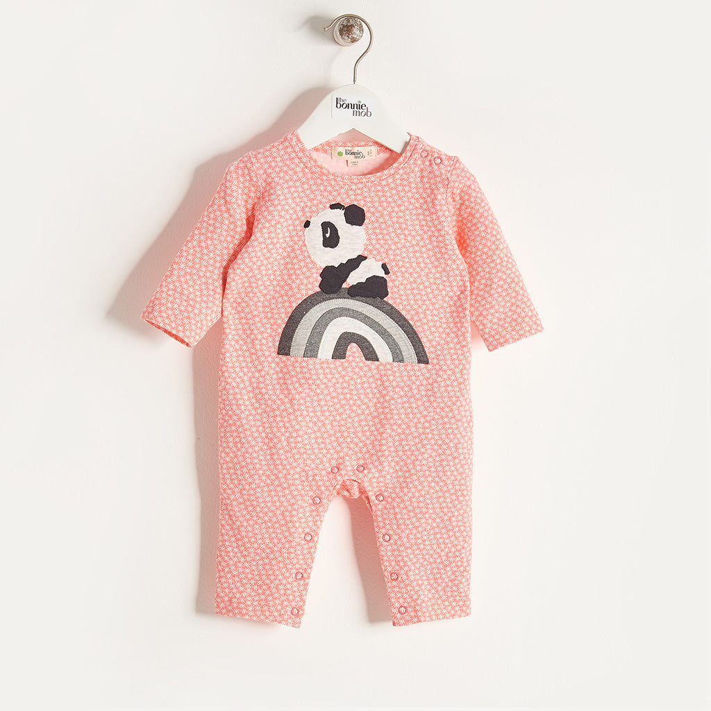 AKIKO - Baby Girl Rainbow Panda Playsuit - Sorbet