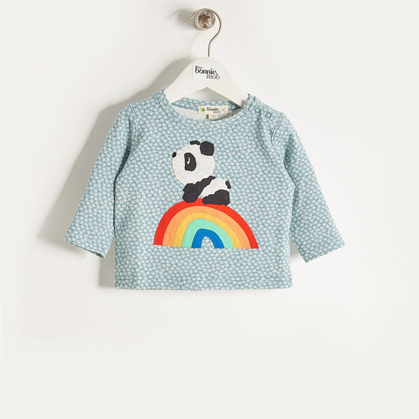 ALLO - Boys Rainbow Panda T-Shirt - Blue