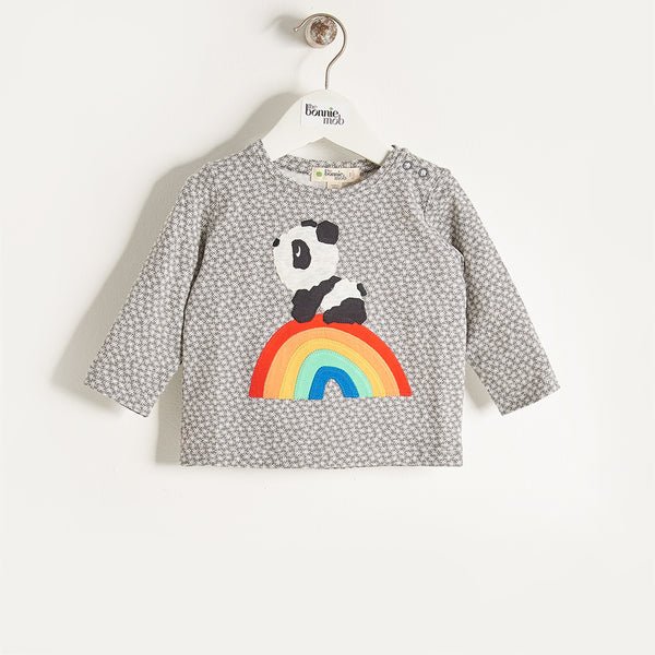 ALLO - Unisex Kids Rainbow Panda T-Shirt - Grey