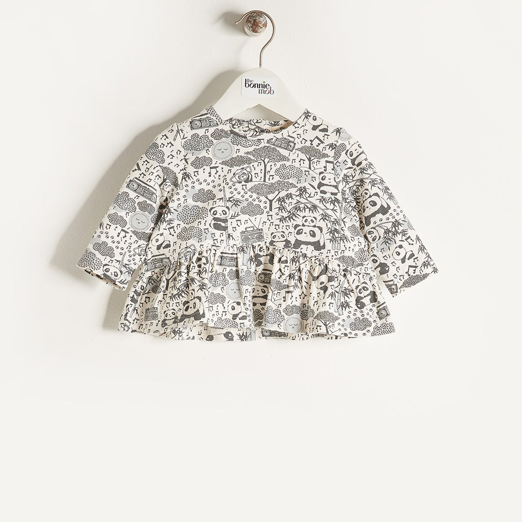 BABE - Baby Girls Long Sleeve Frill Top - Grey