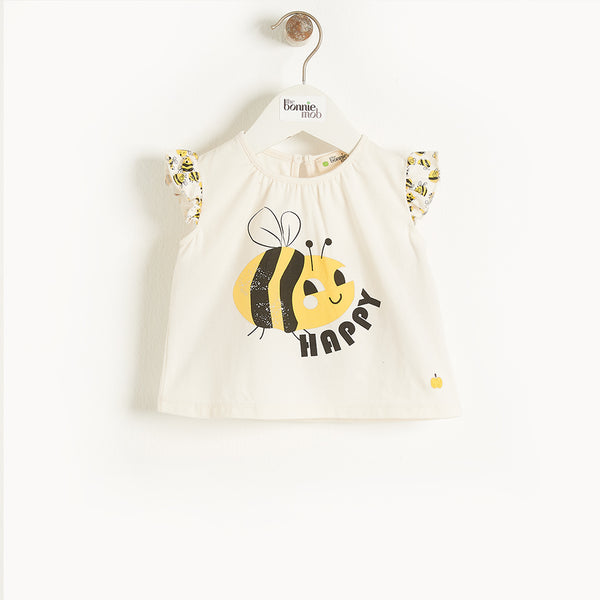 BALEARIC - Baby Frill Sleeve Top And Bloomer Set BEE HAPPY