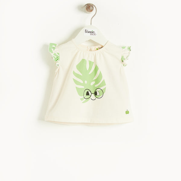 BALEARIC - Baby Frill Sleeve Top And Bloomer Set LEAF