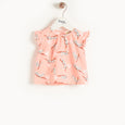 BALEARIC - Baby Frill Sleeve Top And Bloomer Set PEACH LEOPARD