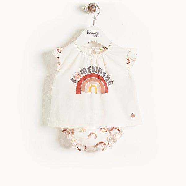 BALEARIC - Baby Frill Sleeve Top And Bloomer Set PEACH RAINBOW