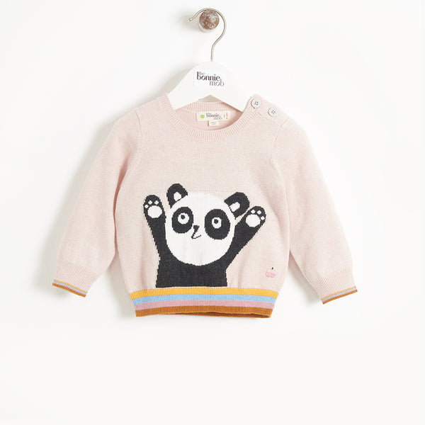 BASS - Kids Girl Panda Intarsia Sweater - PALE PINK
