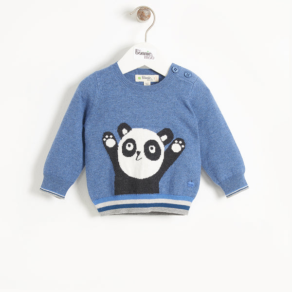 BASS - Kids Panda Intarsia Sweater - BLUE