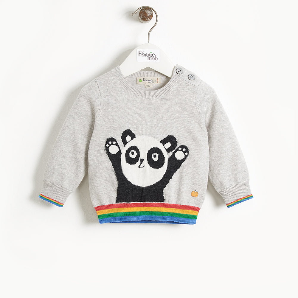 BASS - Kids Panda Intarsia Sweater - GREY