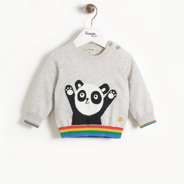BASS - Baby Panda Intarsia Sweater - GREY
