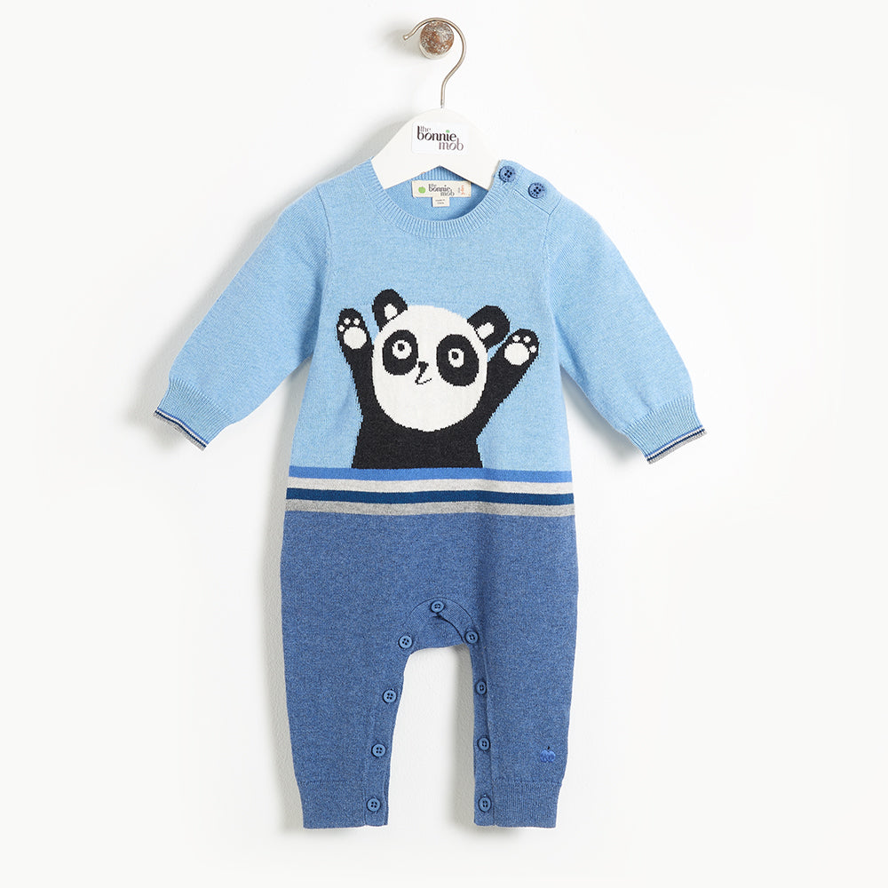 BEATLES - Baby Panda Intarsia Playsuit - BLUE