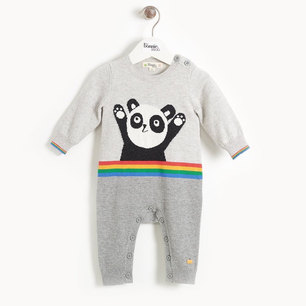 BEATLES - Baby Panda Intarsia Playsuit - GREY
