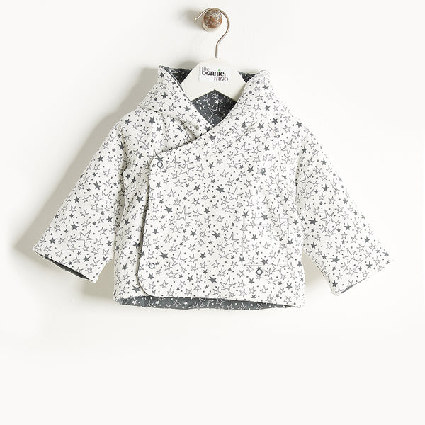 BIFFY - Reversible Padded Baby Jacket With Hood - Baby Unisex - Cream star print