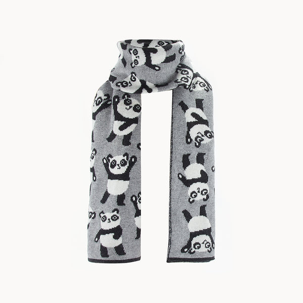 L-GARY-Panda Repeat Scarf-Baby-Grey