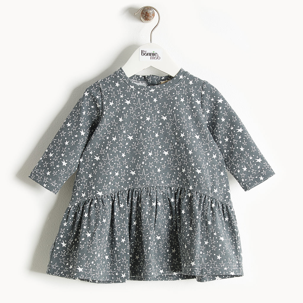 BOOGIE - Printed Full Frill Dress - Baby Girl - Grey star print