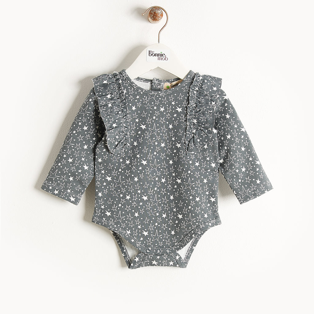 BREEZY - Bodysuit With Frill Shoulder - Baby Unisex - Grey star print