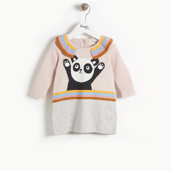 BRITT - Baby Girl Panda Intarsia Dress - PALE PINK