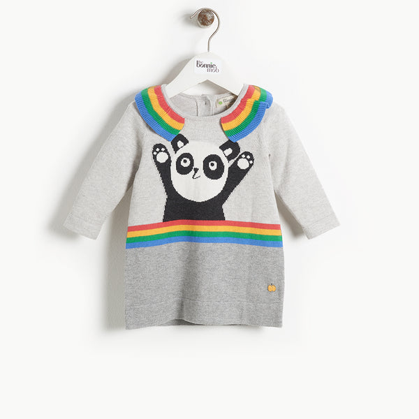 BRITT - Kids Girl Panda Intarsia Dress - GREY
