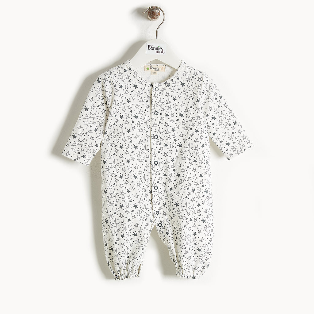 BUMPER - Convertible Baby Playsuit/Gown - Baby Unisex - Cream star print