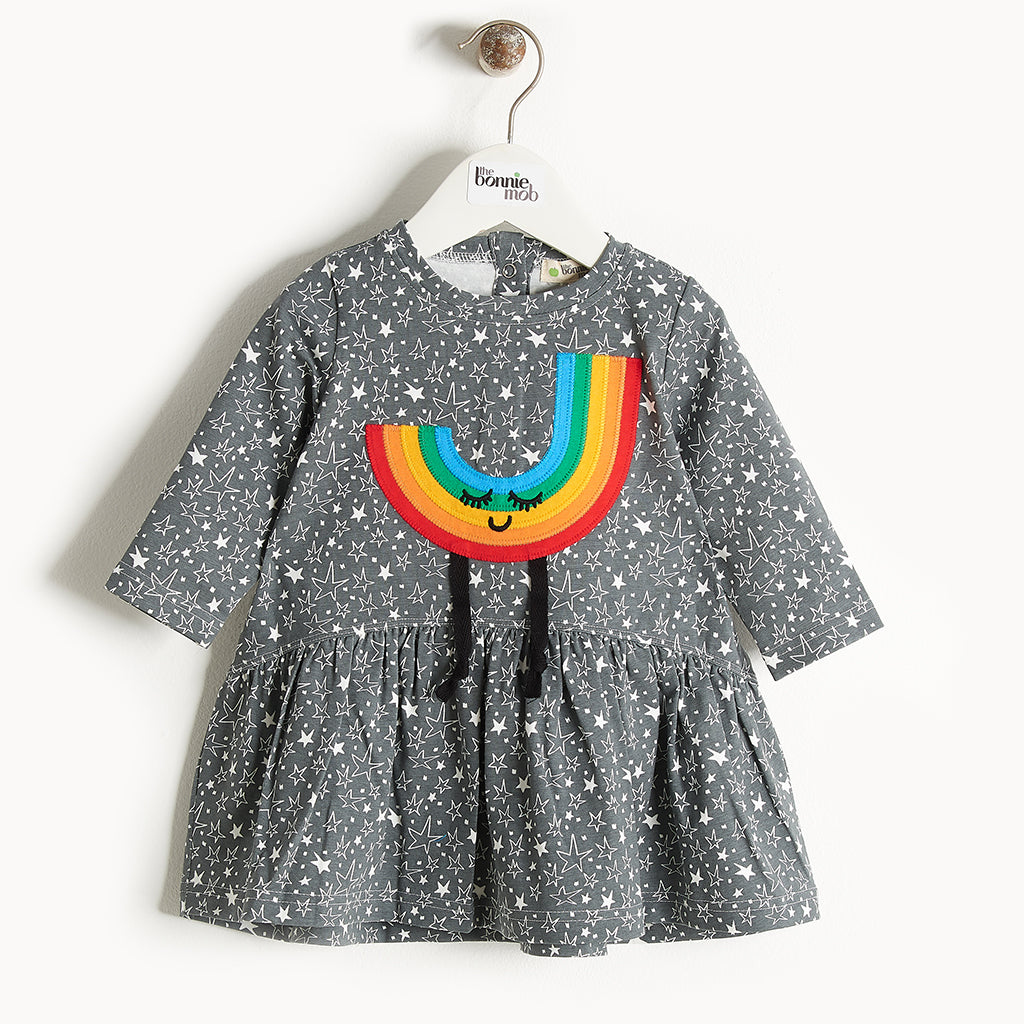 CANDI - Rainbow Applique Dress - Kids Girl - Grey star print