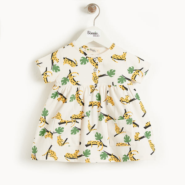 CARMEL - Kids Printed Dress With Pockets  MUSTARD LEOPARD