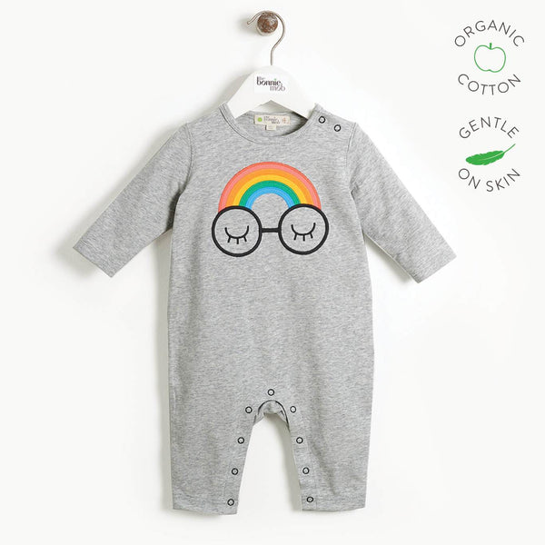 CAVERN - Baby Applique Playsuit - RAINBOW EYES