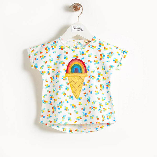 CEZANNE - Motif Short Sleeve Kimono Kids T Shirt - Rainbow Ice Applique