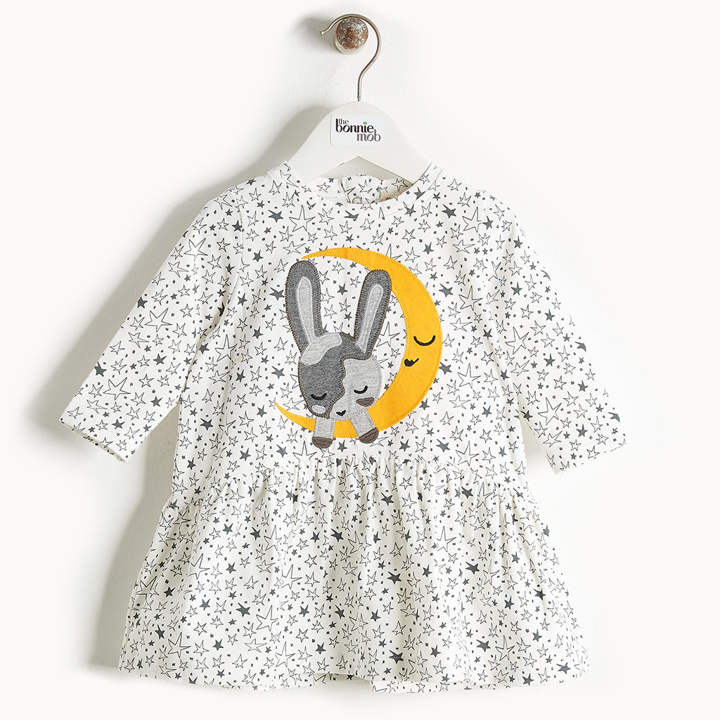 CHAKA - Moon Bunny Applique Dress - Baby Girl - Cream star print