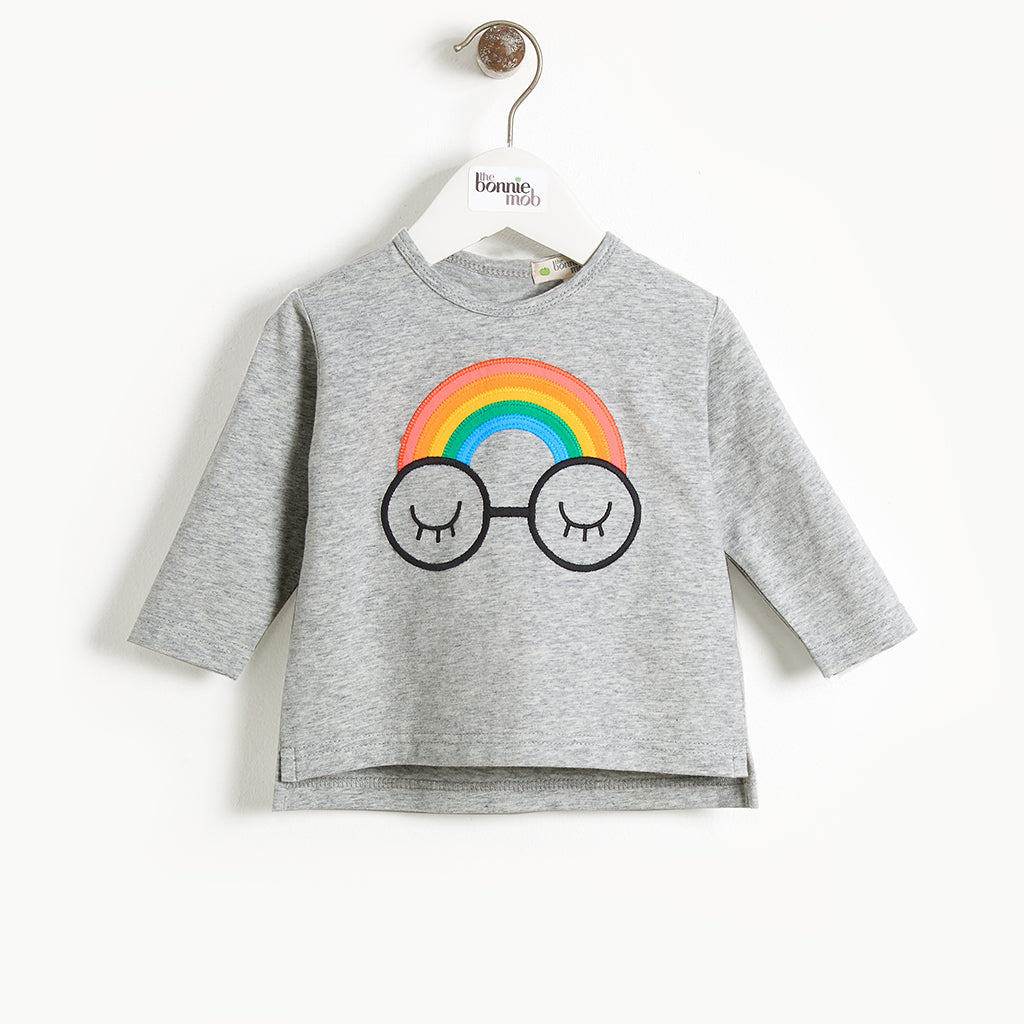 CHANCE - Baby Applique, Long Sleeve T-shirt - RAINBOW EYES