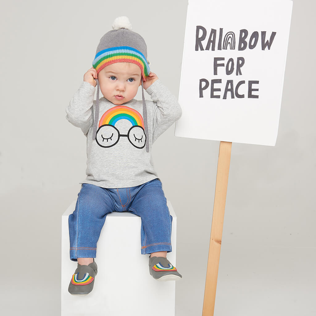 HEY - Baby Rainbow Stripe Pom Pom Knitted Hat - GREY
