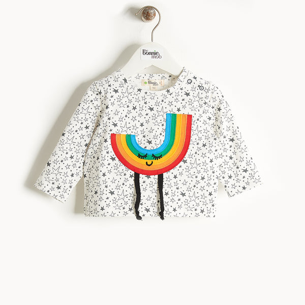 CHAPPY - Rainbow Applique Long Sleeves T-Shirt - Baby Unisex - Cream star print
