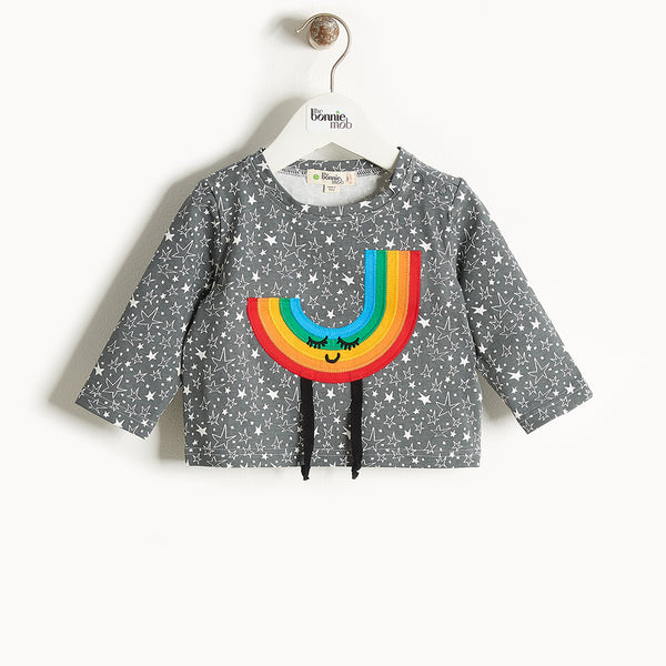 CHAPPY - Rainbow Applique Long Sleeves T-Shirt - Kids Unisex - Grey star print
