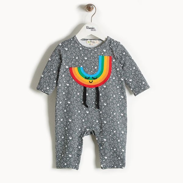 CHUCK - Rainbow Applique Playsuit - Baby Unisex - Grey star print