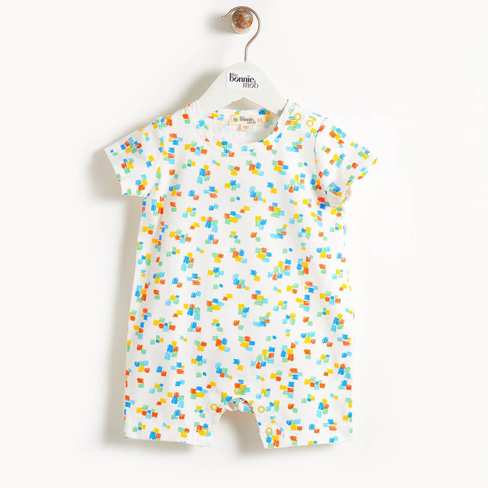 DAMIEN - Printed Shorty Baby Playsuit -  Multicolour