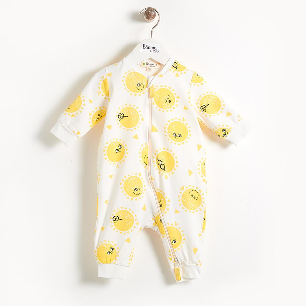 DARNELL - Zip Front Baby Playsuit In All Over Print - Sunshine Print