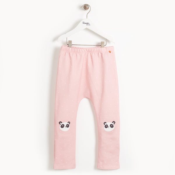 DIXIE- Kids Panda Knee Harem Trousers  - PINK
