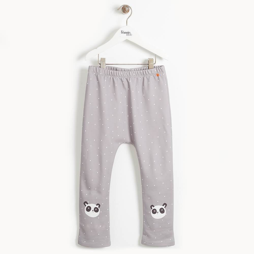 DIXIE- Kids Panda Knee Harem Trousers  - GREY
