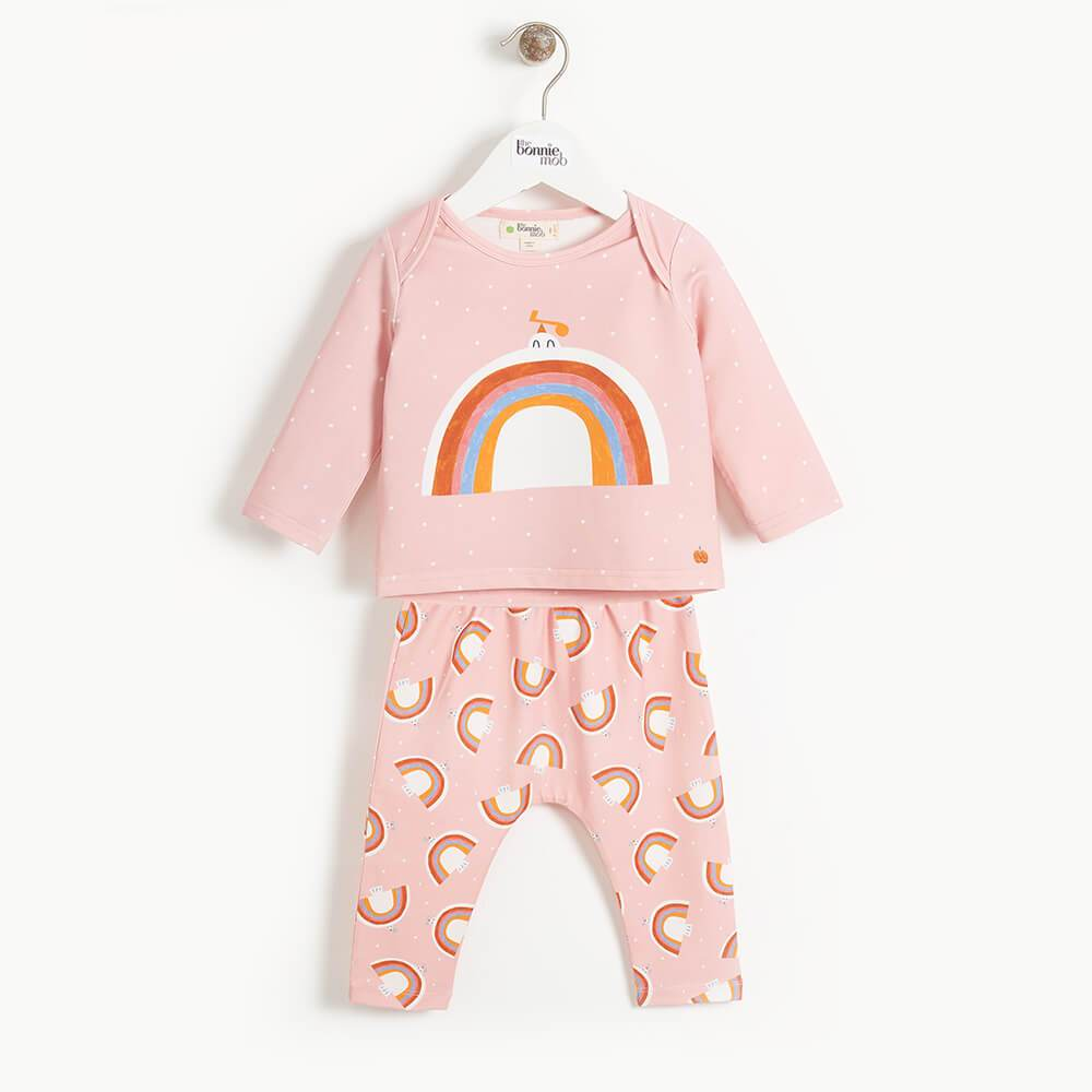 DOVE - Baby 2 Piece T-shirt and Legging Set - PINK DOVE PRINT