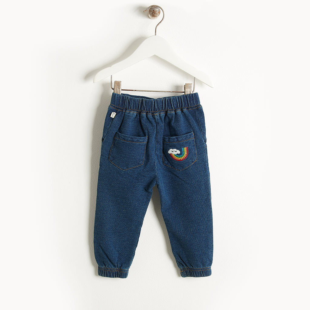 DOWNTOWN - Denim Terry Jogging Trousers - Kids Unisex - Denim