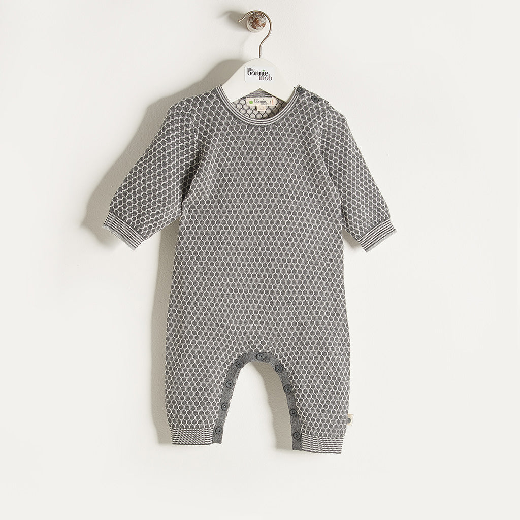 ELFIE - Unisex Baby Honeycomb Jaquard Playsuit - Grey