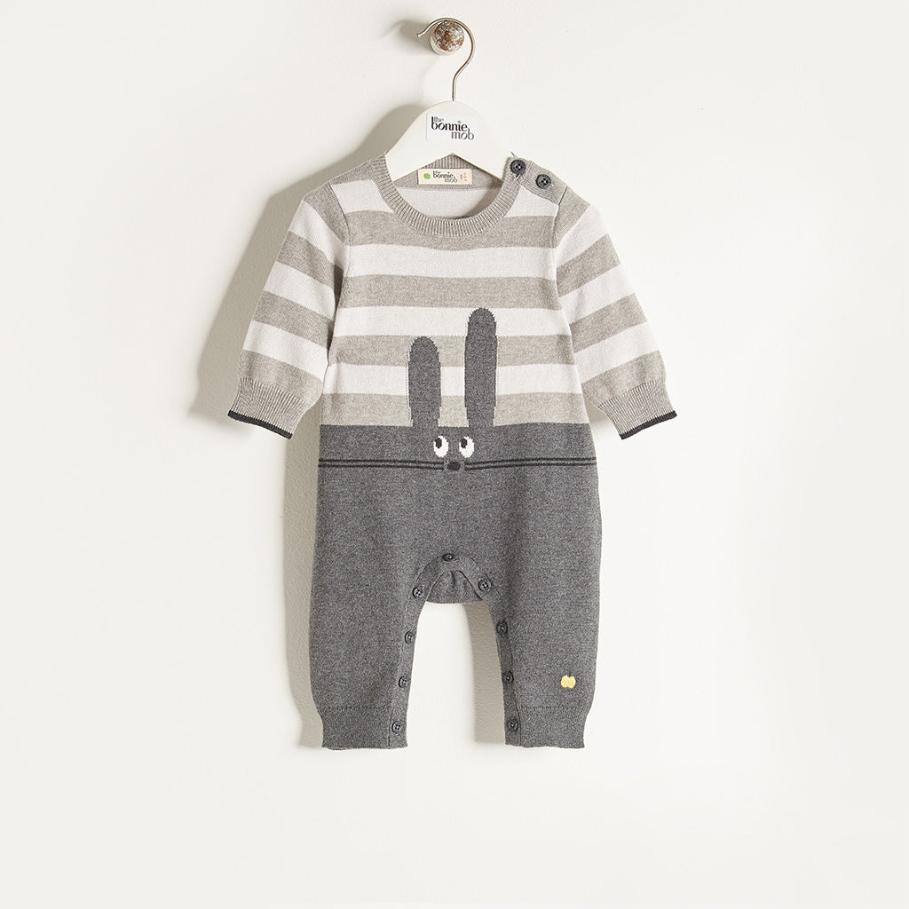 FLOPSY - Unisex Baby Knitted Bunny Playsuit - Greys