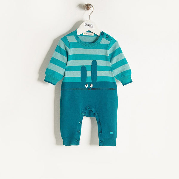 FLOPSY - Unisex Baby Knitted Bunny Baby Playsuit - Teal