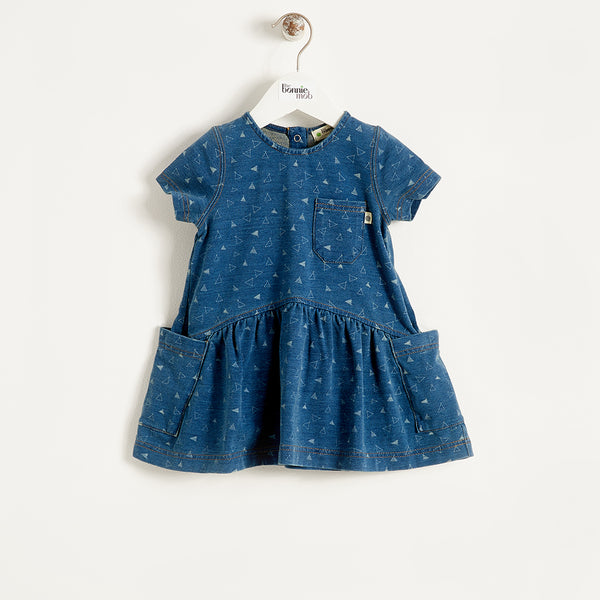 FOLK - Baby - Dress - DENIM TEE-PEE PRINT
