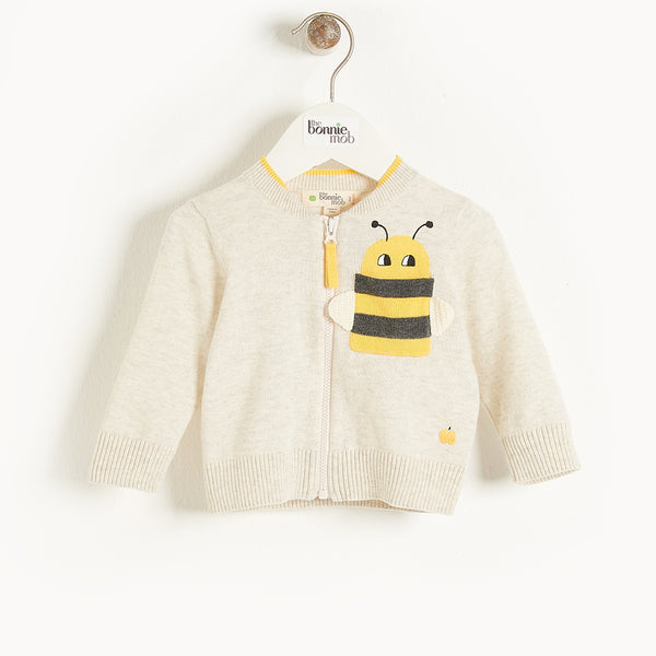 GOA - Baby Bee Intarsia Cardigan PUTTY