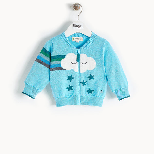 GOOFY - Rainbow Cloud Cardigan - Baby Boy - Pale blue