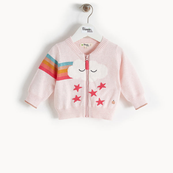 GOOFY - Rainbow Cloud Cardigan - Baby Girl - Pale pink