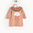 GRACE - Rainbow Frill Dress - Baby Girl - Powder pink